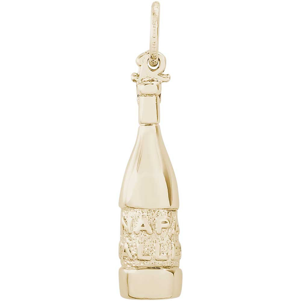 Rembrandt Charms Napa Valley Wine Bottle Charm, 14K Yellow Gold
