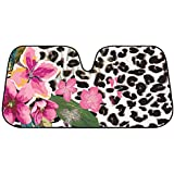 BDK Flower Leopard Sunshade - Pink Hibiscus Orchid - Folding Accordion with Anti Glare Sun Shade