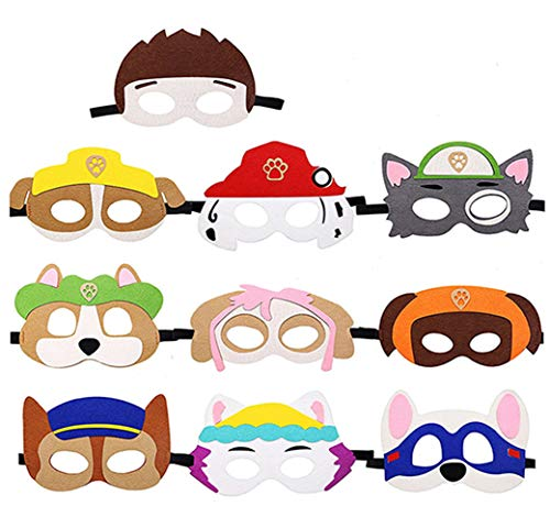 Dlazm Puppy Party Birthday Masks for Paw Patrol Toys-Party Supplies for Kids (Set of 10)]()