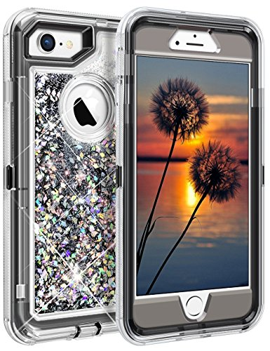 Coolden Shining Case for iPhone 7/8 (NOT Plus), Liquid Glitter Bling Sparkle Heavy Duty Protective Armor Case with Hard PC Inner Frame & Soft TPU Back Cover for iPhone 7 8 - Silver Grey