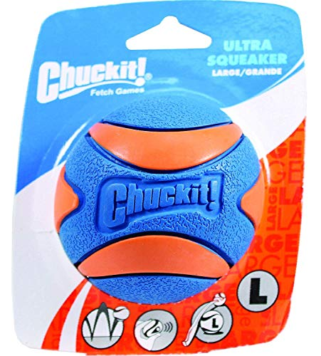 Chuckit! Ultra Squeaker Dog Ball High Bounce Blue/Orange 3 Sizes (New Version)
