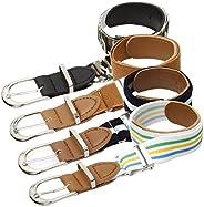 Bundle Monster 4pc Mix Design Adjustable Elastic Band Boys Fashion Stretch Belts