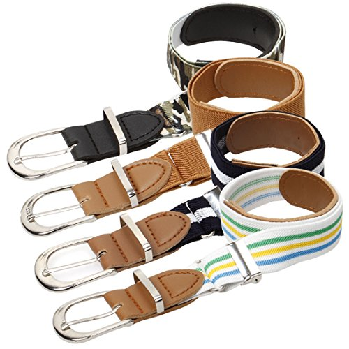 - Bundle Monster 4pc Adjustable Elastic Band Boys Fashion Stretch Belts - Set 2, Dapper Lad