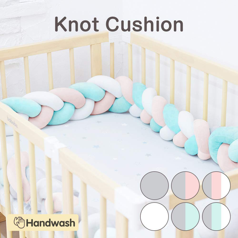 Wonder Space Soft Knot Plush Pillow Green//Grey//White, 158IN // 4M Baby Crib Bumper Fashion Nursery Cradle Decor For Baby Toddler and Childern