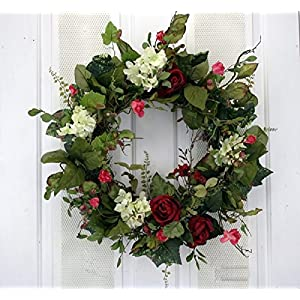 Afternoon Soiree Red Roses and Creamy Hydrangeas Silk Floral Wreath for Front Door Indoor Outdoor Summer Decor 51