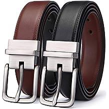 Men's Belt, Bulliant Leather Reversible Belt for Mens Father's gift,One Belt Reverse for 2 Colors