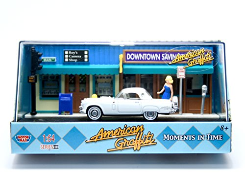 1956 FORD THUNDERBIRD / MOMENTS IN TIME * American Graffiti Series III * 2009 Motor Max 1:64 Scale Die-Cast Collection Diorama