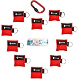 CPR Mask Keychain Kit (10-Pack) - First Aid Breathing Masks - Disposable Face Shield for Adults & Children, Perfect for Everyday Emergencies, First Aid Rescue AED Training