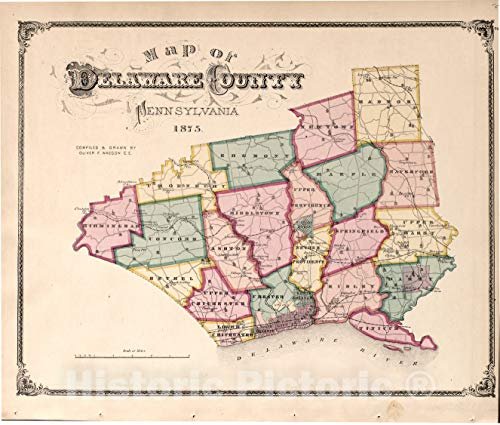 Historic 1875 Map | Combination Atlas map of Delaware County, Pennsylvania | Map of Delaware County | New Historical Atlas of Delaware Co, Pennsylvania : 24in x 20in