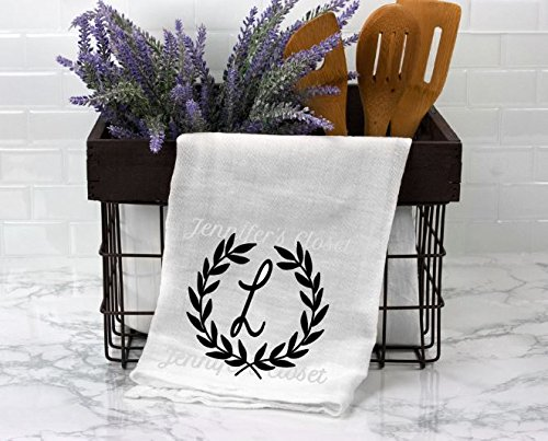 Monogram Flour sack, Kitchen Towels, Personalized, Wedding Gift, for the couple, Anniversary, L