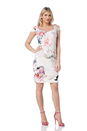 f0b1d4d971e7 Roman Originals Womens Floral Cold Shoulder Dress - Ladies Occasion Wedding  Guests Elegant Sweetheart Neck Daytime Mother of The Bride Groom Dresses ...