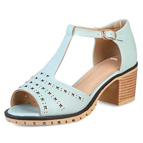 COOLCEPT Mujer Moda Correa en T Sandalias Peep Toe Tacon Ancho Zapatos Azul