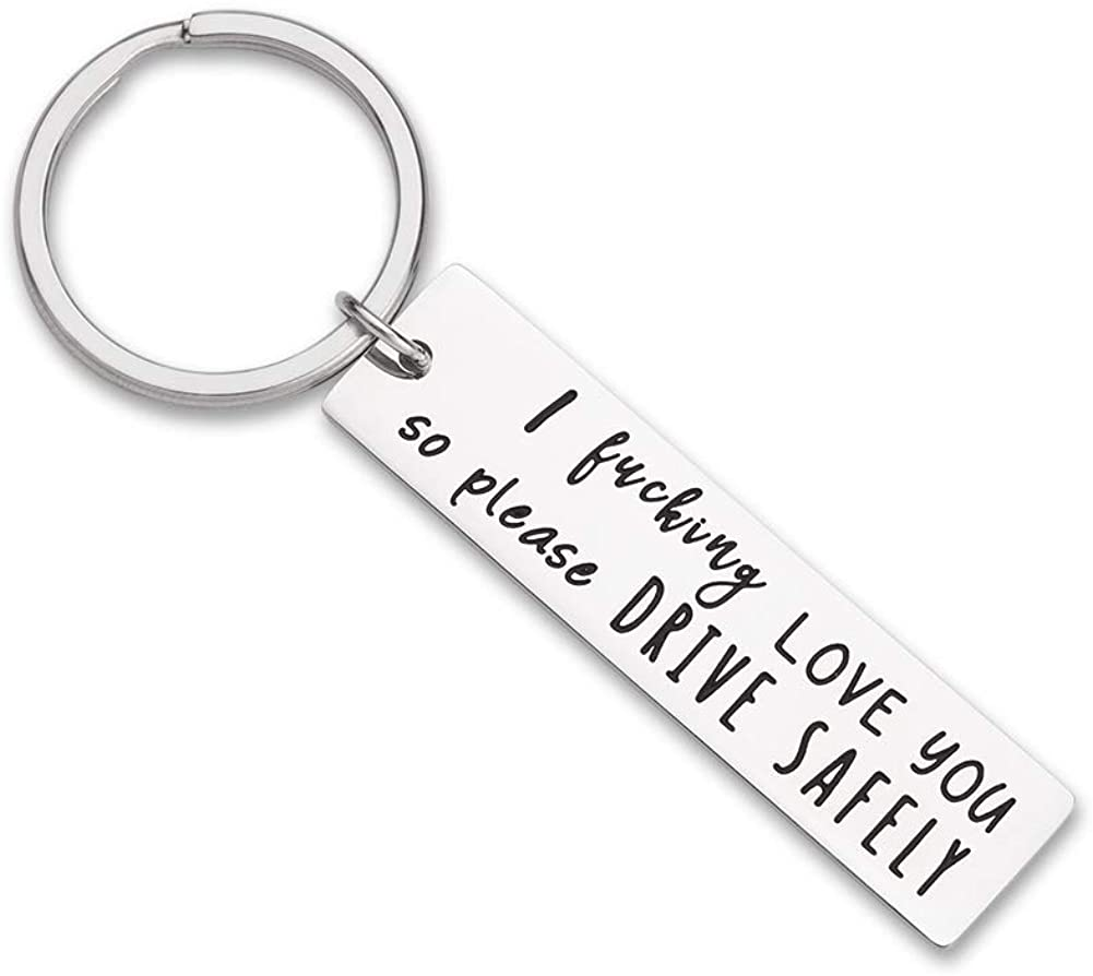 Father's Day Gifts Drive Safe Keychain Boyfriend Gifts for Husband Dad I Love You Gifts Birthday Gifts Key Ring Rectangle Gift New Driver Trucker Gifts for Him Men