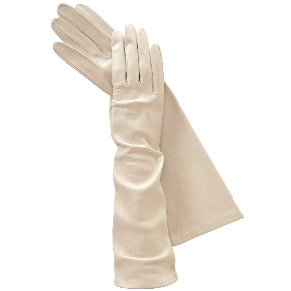 Long Italian Leather Gloves. Lined in Silk. 8''. By Solo Classe (9, Beige)