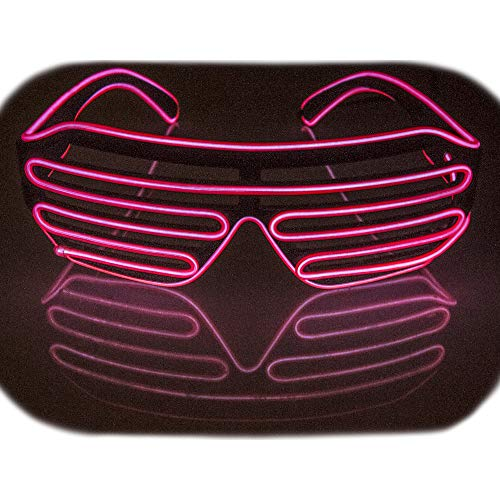 Fadory Led Music Light Up Party Glowing Glasses for Halloween Costume Parties Decorations (Pink Sound Activated)]()