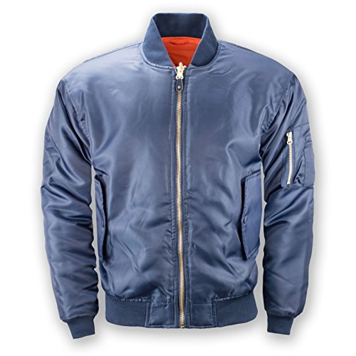 NEW Men Bomber Reversible Pilot Jacket Polyester Shell Zip Up Long Sleeve (S, Blue) (Fleece Pilot Jacket)