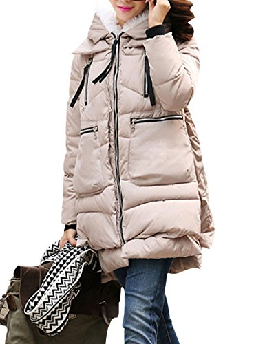 Loose Coat Hood Jacket Padded Zipper Thicken down Yeokou Women's Beige Cotton TXOWRq