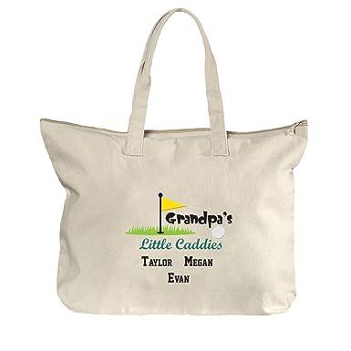 e9376b7f7 Image Unavailable. Image not available for. Color: Custom Grandpa's Little  Caddies Cotton Canvas Beach Zipper Tote Bag Tote