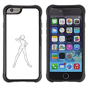 Pulsar iFace Series Tpu silicona Carcasa Funda Case para Apple iPhone 6+ Plus(5.5 inches) , Arte humana Robot Cuerpo Sketch Dibujo Lápiz""