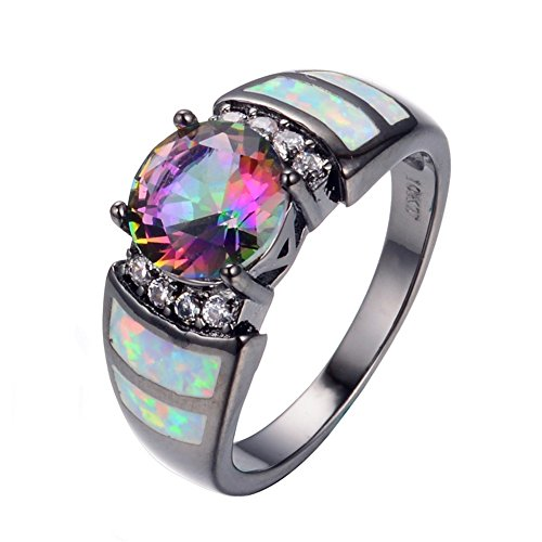 PSRINGS Fashion Big Rainbow Opal Crystal CZ Ring 10KT Black Gold Filled Vintage Jewelry Wedding Rings Bague 8.0