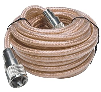 RoadPro RP-8X18CL 18 Clear CB Antenna Mini-8 Coax Cable with PL-259 Connector