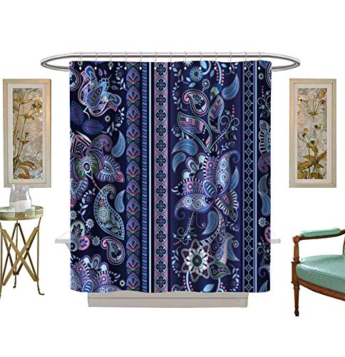 Miki Da Shower Curtains Fabric Striped Seamless Pattern Floral Wallpaper Bathroom Decor Set with Hooks Size:W72 x L72 inch