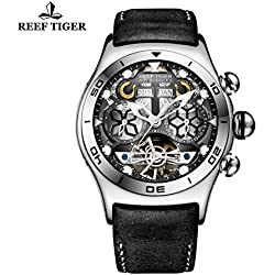 Reef Tiger Mens Unique Tourbillon Watch with Year Month Date Day and Skeleton Dial RGA703