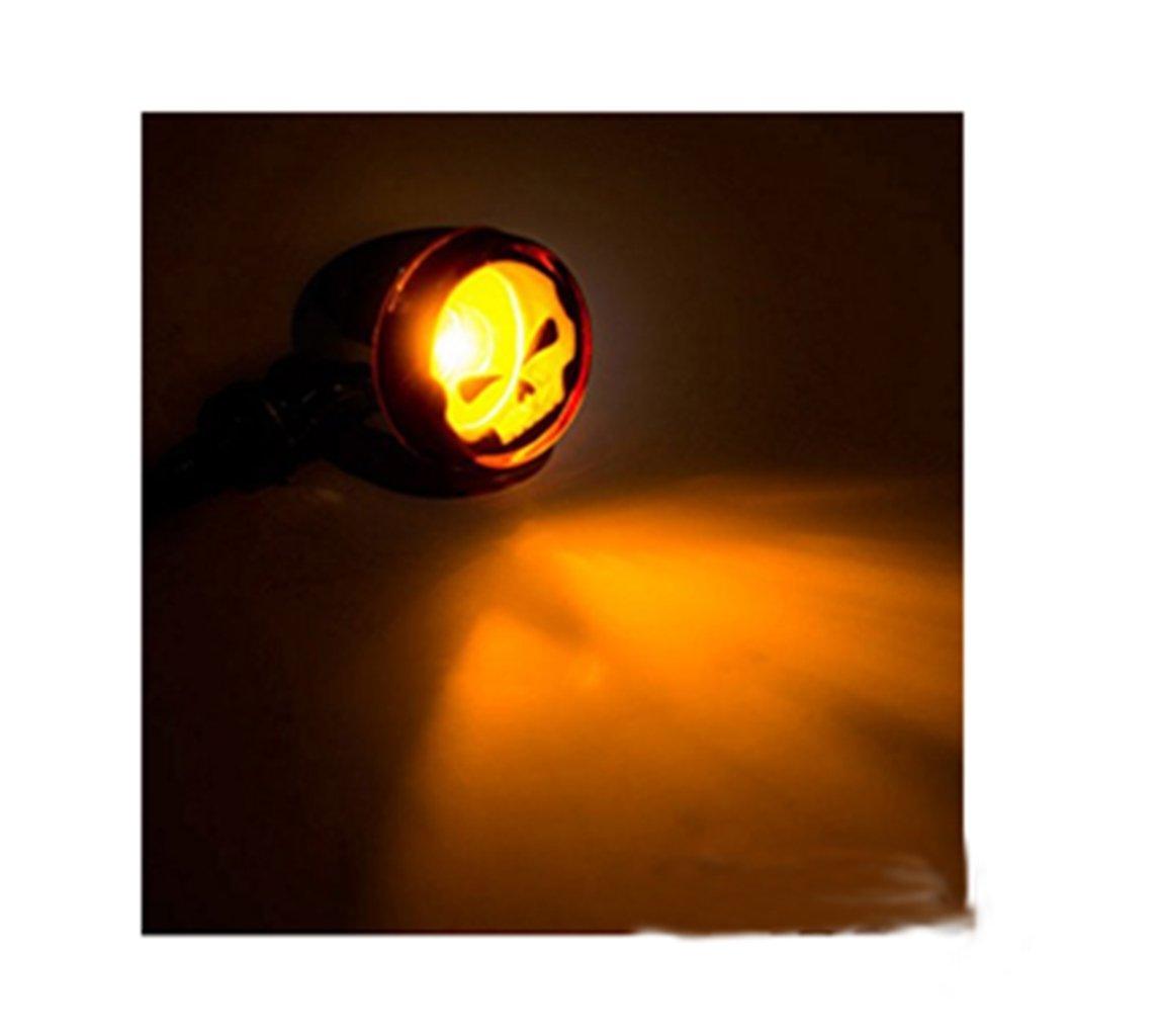 ETbotu 2/Pcs Forme de T/ête de Mort Moto Clignotants Lampe indicateurs Blinker Ambre Clair pour Moto Noir