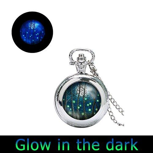 Glowlala glowing Fireflies Fine Art watch Pendant glow in the dark Fireflies in moon watch necklace lit forest full moon, birch tree forest watch necklace (1) from Glowlala®