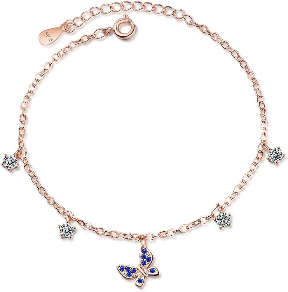 RQWY - Pulsera de Cristal Azul con diseño de Mariposa y Brazalete para Mujeres y niñas, Regalo para Evitar alergias