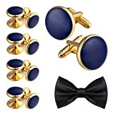 Aienid Tuxedo Studs and Cufflinks Set for Men Stainless Steel Cufflinks Accessories Shirt Business Blue Gold