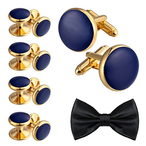 Aienid Tuxedo Studs and Cufflinks Set for Men Stainless Steel Cufflinks Accessories Shirt Business Blue Gold by Aienid