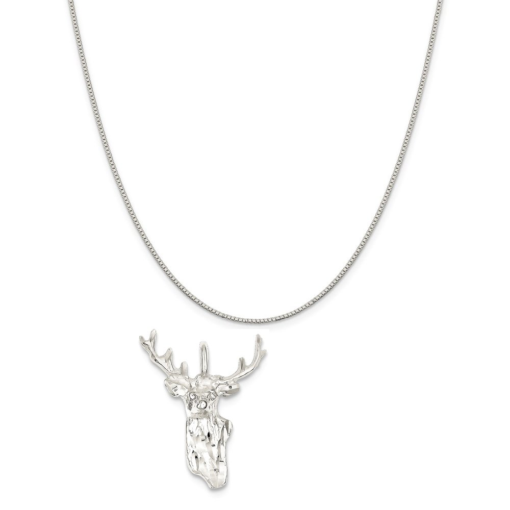 Mireval Sterling Silver Deer Head Charm on a Sterling Silver Chain Necklace 16-20
