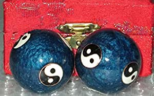 Chinese Health Exercise Stress Relief Baoding Balls Ying Yang Blue Color S-3581