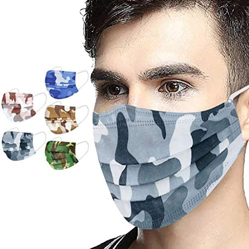 20 50 100 200 Pack Camouflage Disposable Face Protection, 3 Ply Protection Anti Dust Women Men Breathable Face for Working Mowing Running Cycling Outdoor School 200 PC, Multicolor