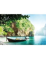 GREAT ART Fotobehang - vissersboot in tropische baai - wandafbeelding decoratie vakantie reizen strand paradijs Bay natuur eiland zee reizen strand fotobehang wandbehang (336 x 238 cm)