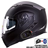IV2 Helmet + Bluetooth Combo: Model 953 Dual Visor, Modular/Flip-Up High Performance Motorcycle Helmet + SENA SMH5 Bluetooth Unit [DOT] (Medium, Matte Black)
