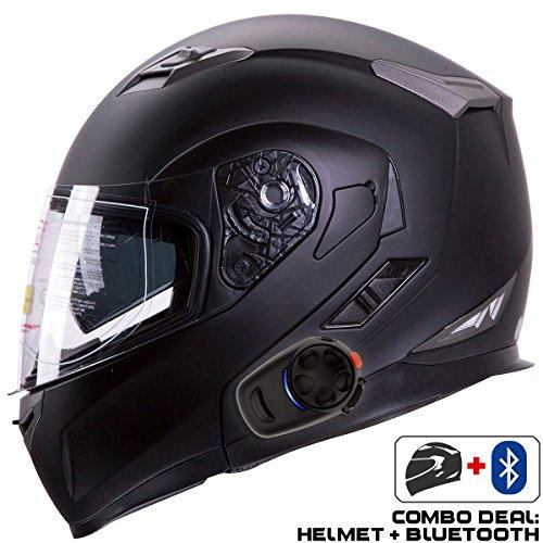IV2 Helmet + Bluetooth Combo: Model 953 Dual Visor, Modular/Flip-Up High Performance Motorcycle...
