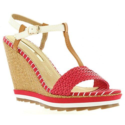 Maria Mare Chaussures Compensées pour Femme 66348 Rojo-Brush Cuero Taille 40 goUvD1V53