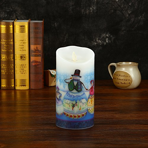 Ksperway Flameless Wax Candles, Moving Wick LED Pillar Candle with Blow ON/Off Control,Timer and Remote 3.5 by 7 Inch Picture (Snow Man) by Ksperway (Image #6)