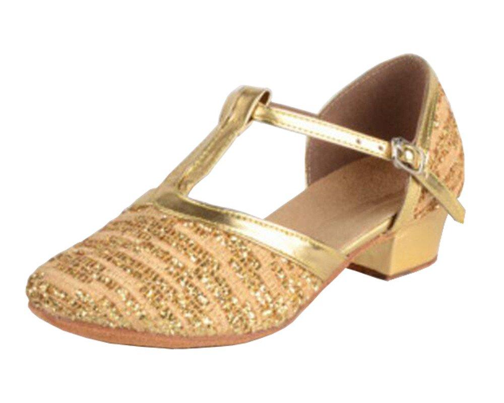 missfiona Girls Closed-Toe T-Strap Glittering Latin Performance Dance Shoes Ballroom Sandals(4, Gold)
