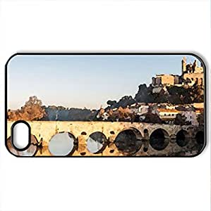 ancient bridge to an ancient town - Case Cover for iPhone 4 and 4s (Bridges Series, Watercolor style, Black)
