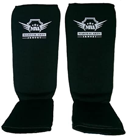 Kickboxing /& Karate Muay Thai Sparring Combat Sports Washable MMA Elastic Cloth Shin/&Instep Padded Guards Premium Leg Protective Gear Guards/&Pads Ideal Shin Guard for Shin Protection Wrestling