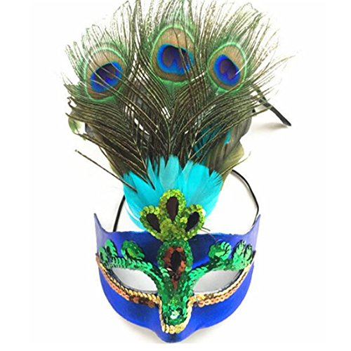 Masquerade Mask Peacock Feathers Mask Magic Sequins Venetian Half Mask for Halloween Party Evening Prom Costume Accessory Blue -