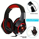 LOUJSB - ♚30 Days Unconditional Return♚GM-1 Wired Gaming Headset/HD 7.1 Surround Sound Stereo/Noise Canceling Mic/LED Light/Compatible with PC, PS4, Xbox and More