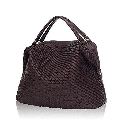 Women Dark Purse Satchel for Leather Handbag Maroon Dome xpTvWPR
