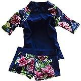 Baby Toddler Girls Two Pieces Swimsuit Set Swimwear Bathing Suit Rash Guards UPF 50+ (Blue)