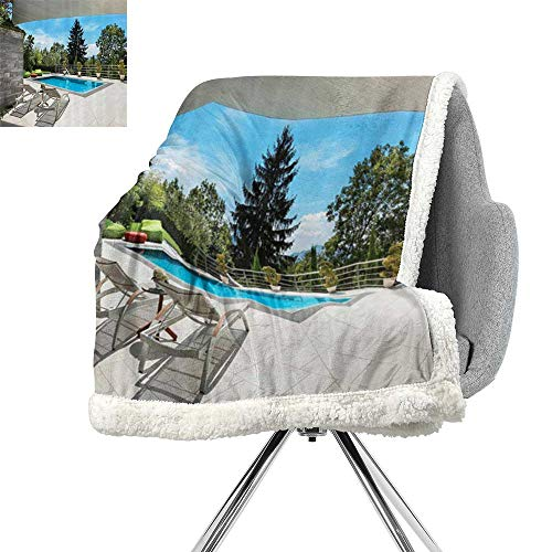House Decor Collection Lightweight Blanket,House Swimming Pool View from The Veranda Summer Day Scenery Terrace Picture,Blue Green,All Season Blanket W59xL31.5 ()