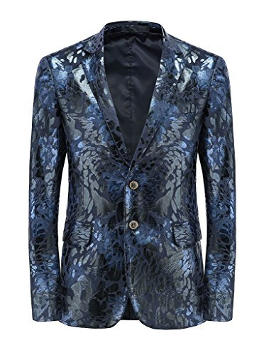 MOGU Mens Slim Fit Sports Coats and Blazers US Size 38 (Asian 3XL) Blue