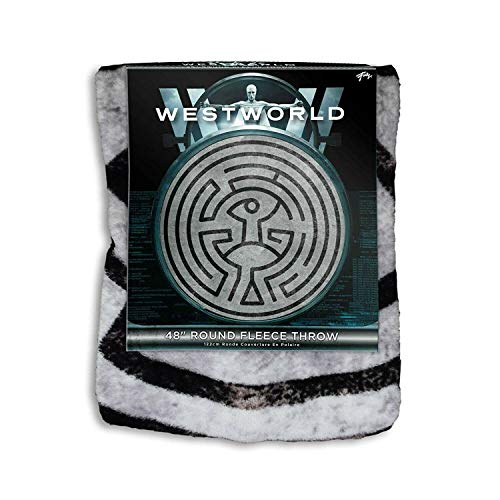 (JUST FUNKY Official West World Maze Round Blanket/Tapestry, 220 GSM Coral Fleece, Set of 1, 48 inch)